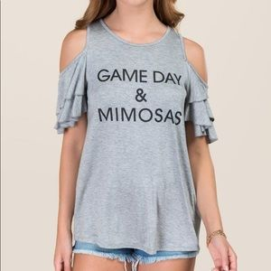 NWT game day and mimosas cold shoulder tshirt